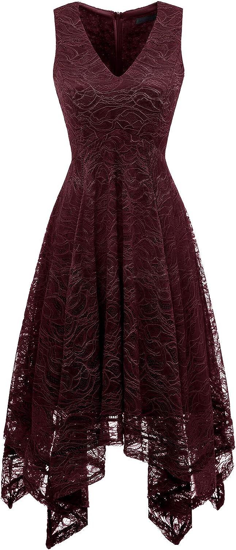 Bridesmay Women's Elegant V-Neck Sleeveless Asymmetrical Handkerchief Hem Floral Lace Cocktail Party Dress