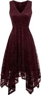 Women's Elegant V-Neck Sleeveless Asymmetrical Handkerchief Hem Floral Lace Cocktail Party Dress