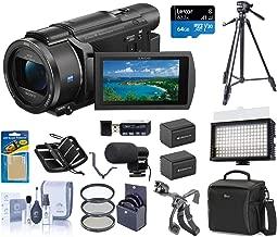 Sony FDR-AX53 4K Ultra HD Handycam Camcorder - Bundle with Video Bag, 64GB SDXC U3 Card, 55mm Filter Kit, 2x Spare Batteries, Video Light, Cleaning Kit, Tripod, Shotgun Mic Triple Shoe V-Bracket, More