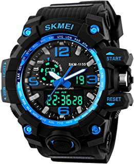 Boy Dual Dial Analog Digital Watch 5 ATM 50M Waterproof Shock Oversized Face Running Sports Watches for Men,Blue