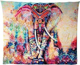 HailiCare Tapicería Elefante, 150 * 130cm Psicodélico Tapiz Hippie Mandala de Pared Decoración de la Naturaleza del Hogar para Mantel Sala de Estar Ddormitorio Naranja