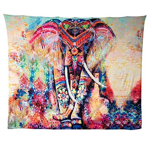 HailiCare 150 x 130 cm Psychedelic Elephant Floral Tapestry Hippie Mandala Gypsy Bohemian Indian Traditional Wall Hanging Sheet Curtain Wall Decor Table Couch Cover Picnic Blanket Beach Throw, E02