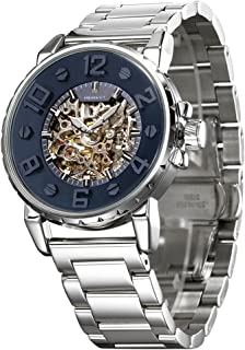 HEMSUT Automatic Watch Men 316L Stainless Steel Self Wind Movement Water Resistant Blue Dial (Silver Blue) (Blue)