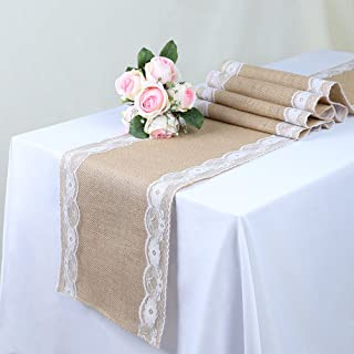 TRLYC Pack of Five Wedding 12 by 108-Inch Burlap White Lace Table Runner Hessian Table Cloth for Country Outdoor Wedding Party Decor