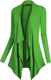 Urban CoCo Women's Open Front Long Sleeve Lightweight Cardigan Drape Hem