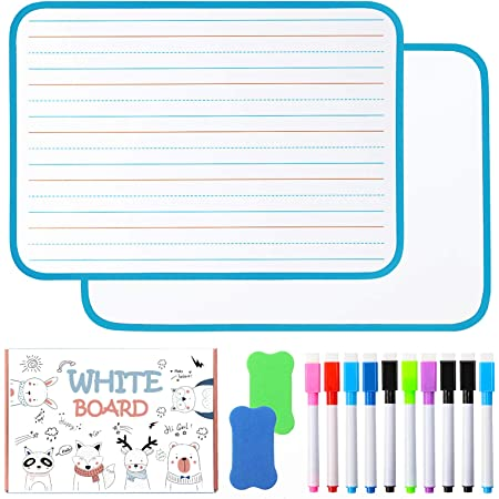 """Chrider Dry Erase Board for Kids (Set of 2, 12""""x9""""x0.24""""), Kids Lined Magnetic Dry Erase Board for Learning Writing, 10 Markers, Double-Sided, 2Eraser, for Children Learning (Blue)"""