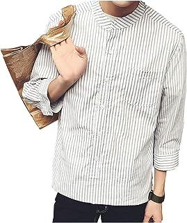 [グリーンティー] シャツ 七分袖 半そで ノーカラー ストライプ 柄 ボタン 前開き ノンアイロン 涼しい メンズ