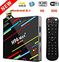 EstgoSZ H96 Max+ TV Box Android 8.1 4GB 32GB Android TV Box RK3328 4K Smart TV Box Support H265 VP9 Video Decoding BT4.0 2.4G 5G Wifi100M LAN KD18.0 USB3.0 Android Box