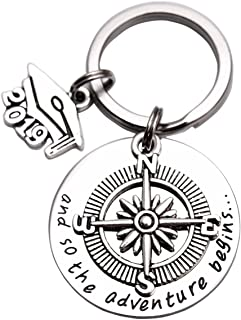 2019 Graduation Gifts for Her Him Compass Keychain New Beginnings Graduation Gift The Adventure Begins Keychain