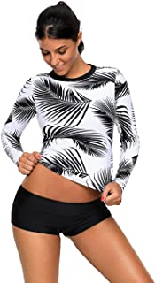 HDE Womens Tropical Leaf Swim Top Long Sleeve Swimsuit Surf Rash Guard Swimwear