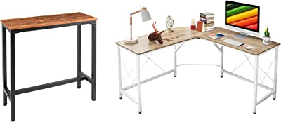 """Mr IRONSTONE L-Shaped Desk 59"""" Computer Corner Desk & 39.4"""" Bar Table Vintage"""
