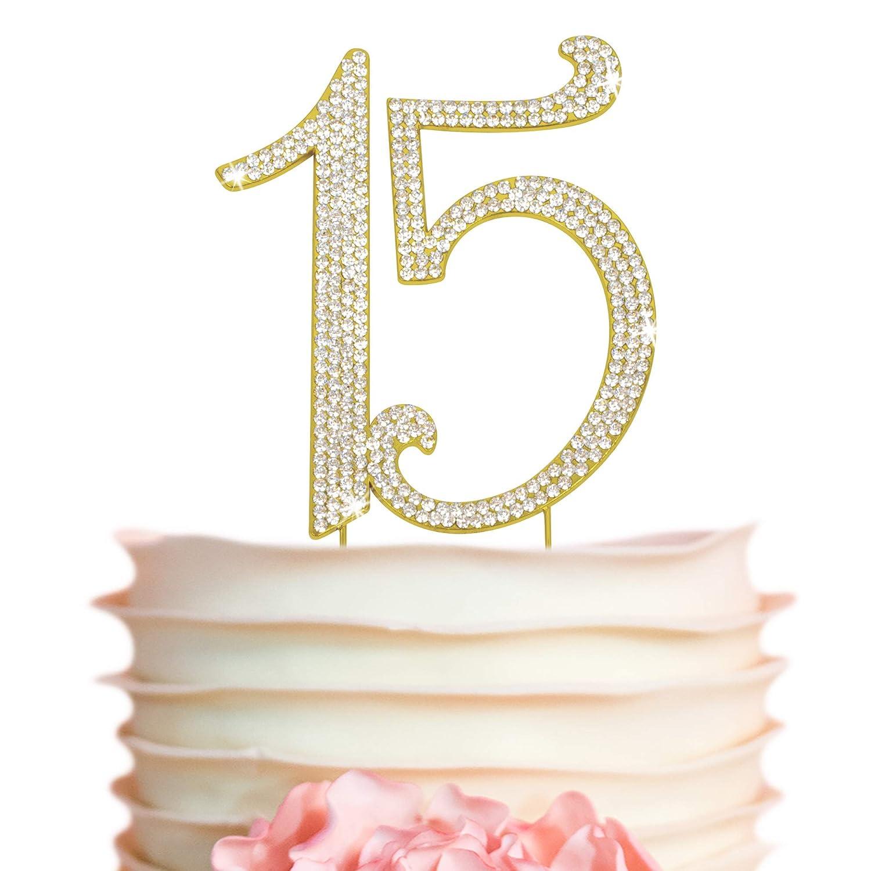 15 Cake Topper - Premium Gold 15th Classic Birthday Metal Anniversa store or