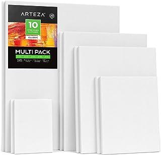 ARTEZA Lienzos blancos estirados e imprimados   Distintos tamaños: 12,7x17,7-27,9x35,5-30,4x40,6-40,6x50,8 cm   Pack de 10 lienzos   100% algodón   Para acrílico, óleo y medios húmedos