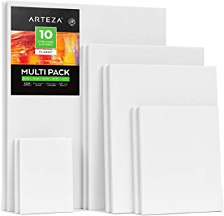 Arteza Stretched White Blank Canvas Multi Pack, 5x7