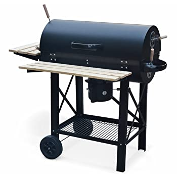 Alice's Garden - Barbecue américain Charbon de Bois - Serge Noir - Smoker américain avec aérateurs, récupérateur de Cendres, fumoir