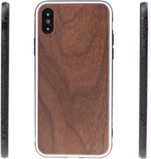 Wood Case for iPhone XS/X, Eco-Friendly Premium Real Wooden Grain Hybrid Snap-on Back Case Cover with Shockproof Soft TPU Bumper Protection for Apple iPhone XS/10S(2018) & X/10(2017) 5.8 Inch - Walnut