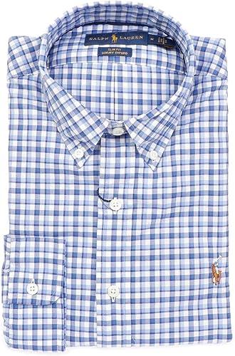 Ralph Lauren Homme 710723601001 Bleu Claire Blanc Coton Chemise