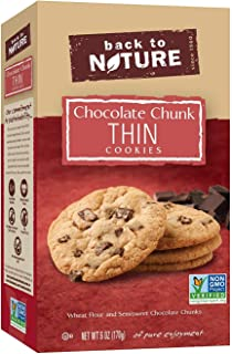 Back to Nature Cookies, Non-GMO Chocolate Chunk Thins, 6 Ounce (Packaging May Vary)