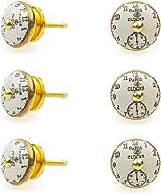 Gałka meblowa uchwyt meblowy zestaw 6 szt. 113GN Vintage nostalgiczne zegary (złoty) - Jay guzik ceramika porcelana ręczni...