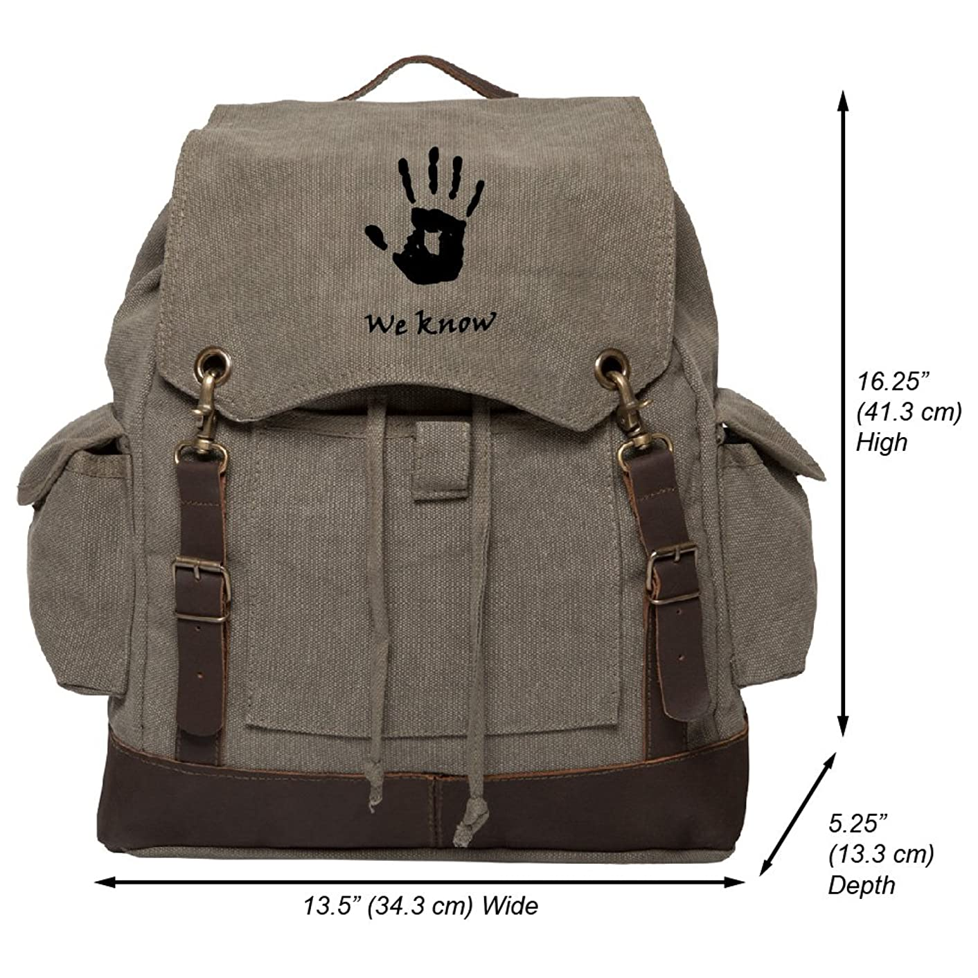 Skyrim We Know WHITE Vinyl Vintage Canvas Rucksack Backpack with Leather Straps