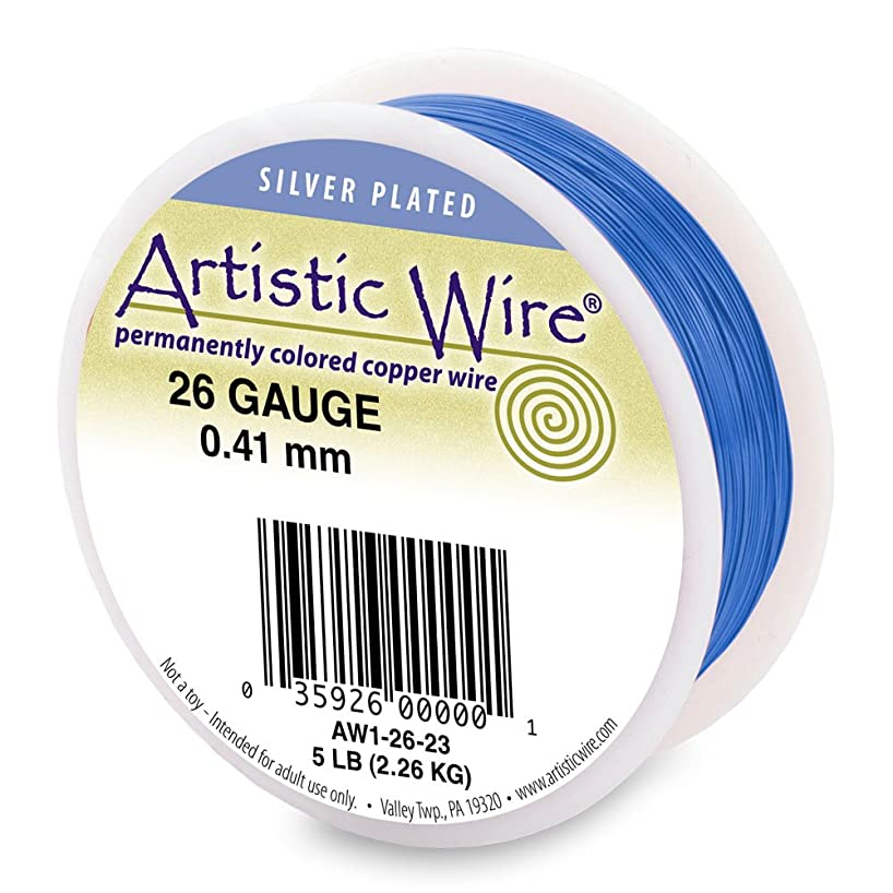 Artistic Wire 28-Gauge Silver Plated Silver Blue Wire, 1/4-Pound