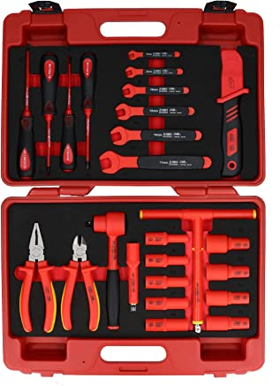 """25pc 3/8"""" Drive VDE Insulated Socket Spanner And Accessory Set 1000V AC Safe"""
