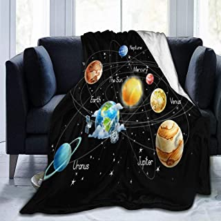 Viciony Solar System Planets Stars and Milky Way Galaxy Space Flannel Fleece Blanket Ultra Soft Cozy Warm Throw Lightweight Blanket Microfleece Blanket for Home 50x40inches