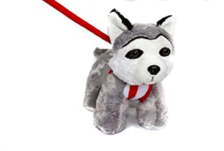 FunStuff Stuffed Animal Plush Toy Husky Dog on a Retractable and Removable Red Leash