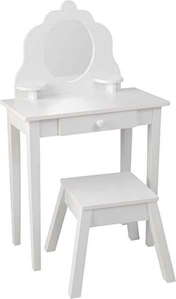 KidKraft Medium Wooden Vanity Stool White Children S Furniture Kid S Bedroom Storage