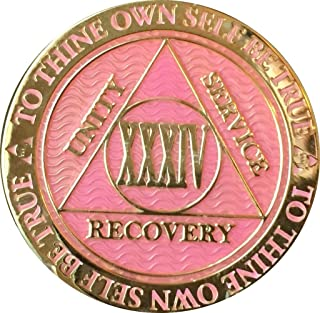 RecoveryChip 34 Year AA Medallion Reflex Pink Gold Plated Chip