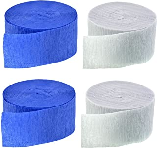Made in USA Dark Navy Midnight Blue + Silver 290 FEET Total Silver Metallic Crepe Paper Color Combinations