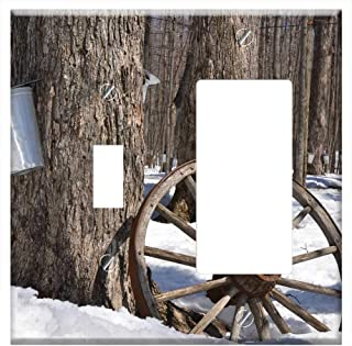 1-Toggle 1-Rocker/GFCI Combination Wall Plate Cover - Maple Syrup Tree Maple Syrup Sap Sugar Spring