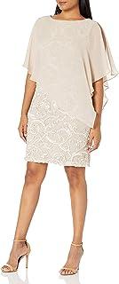 فستان ساندرا دارن النسائي قطعة واحدة بدون أكمام من الشيفون مع غطاء من الأمام