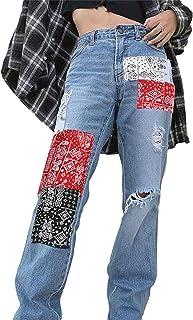 DELIMALI Women Y2K Baggy Jeans Aesthetic Vintage 90s Wide Leg Pants Flower Print High Waist Straight Denim Trousers Street...
