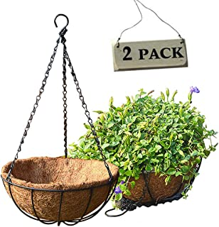8inch Metal Hanging Basket Planter With Coconut Husk Liner 2PCS,Plant Hangers with Coco Planters Liners,Orchid Pots Decorations for Home Garden Yard Porch Indoor Outdoor