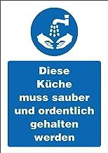 INDIGOS UG - Sticker - veiligheid - waarschuwing - keuken - schoon en netjes - 148,5 mm x 210 mm - hotel, bedrijf, bescher...