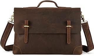 Kattee Genuine Leather Messenger Bag Tote, Leisure 15 Inch Laptop Briefcase Dark Coffee