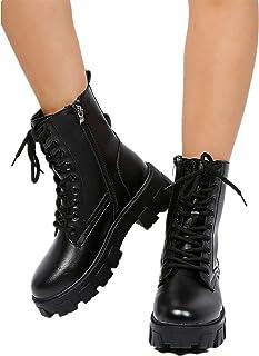 XFBH Bottines en cuir à lacets pour femme avec semelle épaisse, couleur assortie, taille 36 à 43 EU (taille 43, couleur : ...