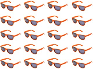 10/20 Packs Adults Wholesales Neon Colors Square Retro Style Party Favors Sunglasses (Orange 20 Packs)