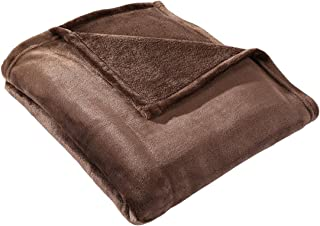HYSEAS Velvet Throw, Light Weight Plush Luxurious Super Soft and Cozy Fuzzy Anti-Static Throw Blanket for Couch Chair All Seasons, 50x60 Inches, Chocolate