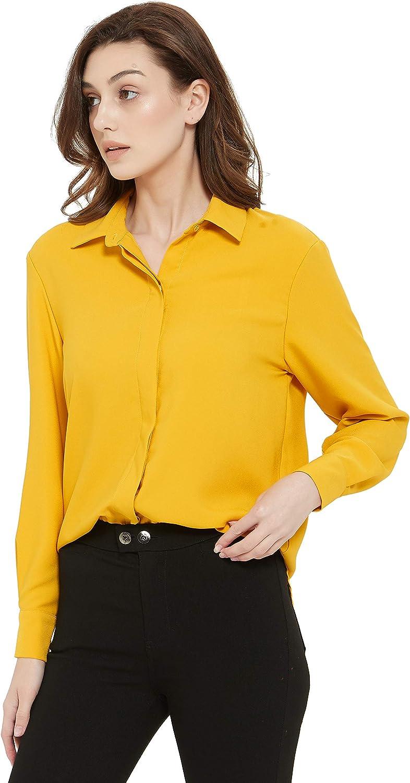 Tronjori Women's Casual V Neck Crepe Blouses Long Sleeve Button Down Shirts Tops