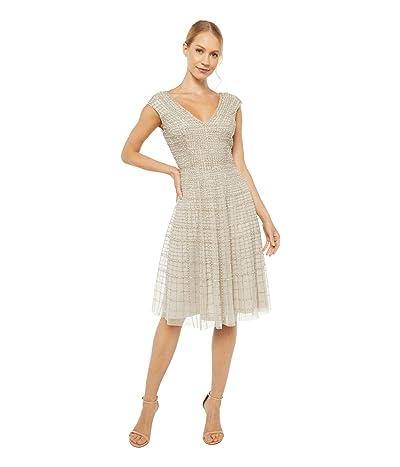 Adrianna Papell Midi Beaded Dress (Silver) Women
