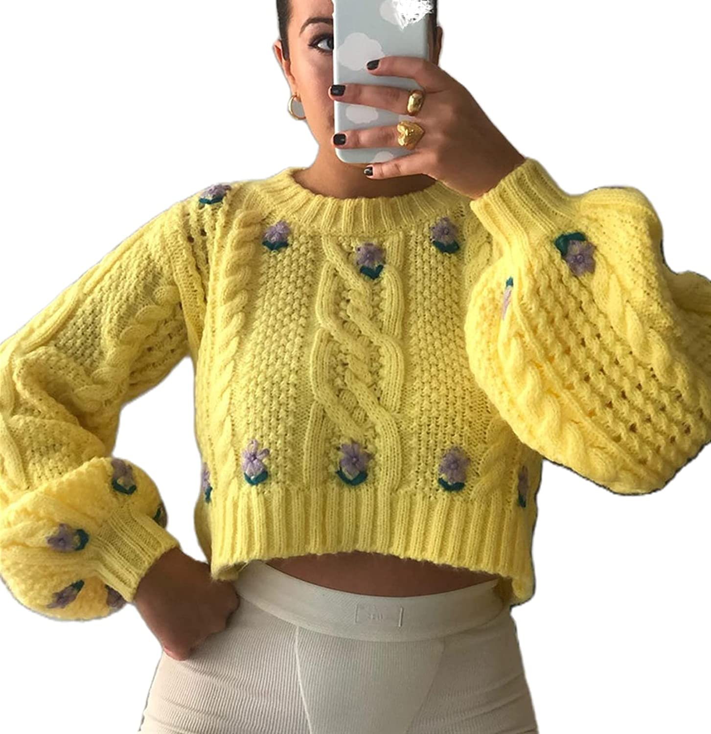 Women Crew Neck Lantern Sleeve Pullover Sweater Tops Cute Cable Knit Crop Sweater Puff Sleeve Casual Loose Blouse