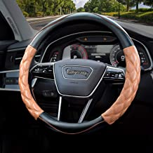 Valleycomfy Steering Wheel Cover Pu Leather Universal 15 Inches, Pathwork Pattern, Breathable, Anti-Slip, Odorless (Brown)