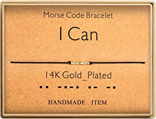I Can Morse Code Bracelet 14k Gold Plated Beads on Silk Cord Friendship Bracelet Gift for Her