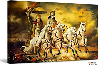 FoxyCanvas Lord Krishna and Arjuna Mahabharata Lord Krishna - The Chariot Giclee Canvas Print Stretched and Framed Wall Art for Home and Office Decorations 24x16 inch