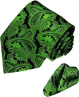 Lorenzo Cana - grün schwarze Marken Krawatte aus 100% Seide mit passendem Eintstecktuch mit Paisleymuster - 7714501