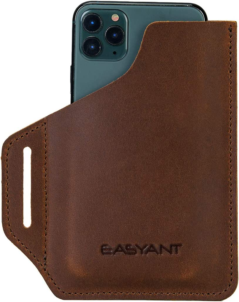 EASYANT Men Leather Phone Holster Universal Case Waist Bag Purse with Belt Hole Brown-L