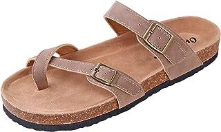 Women's Bork-30 Vegan Leather Toe-Loop Buckle Flats Sandals