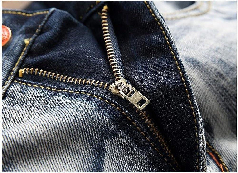 JJZXX Homme Loisir À la Mode Droit Mince Jeans Larme Rétro Personnalité Original Jeans Bleu Blanc